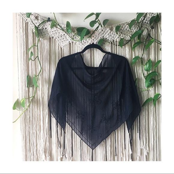 Black Embroidered Beaded Sarong